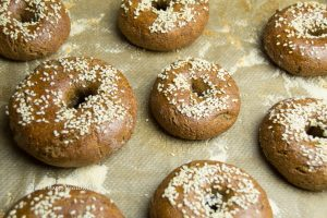 Gluten-free sesame bagels fresh from the oven