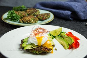 Gluten-free, vegetarian Quinoa Kale Fritters with poached egg and avocado