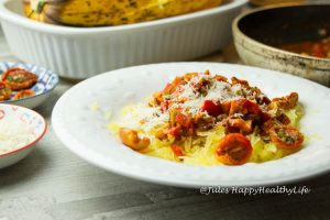 Spaghetti Squash with Vegetable Bolognese - Jules HappyHealthyLife Food Blog