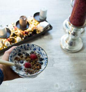 Chocolate Grawnola with coconut yoghurt and berries