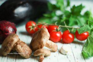 Tomatoes, eggplant, shitake, garlic for eggplant pizza