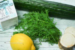 Horseradish Cucmber Salad is vegan and gluten free uses coconut yoghurt
