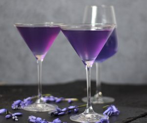 Natural coloring in Lavender Vodka Cocktail