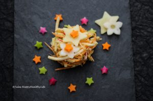 Rezept für einen veganen Kohlrabi Coleslaw mit Leinsamen Mayonnaise