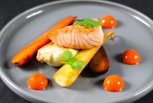 Simple and easy recipe to impress guests - Oven roasted Pak Choy & Carrots with Carrot Ginger Gel and Glazed Salmon