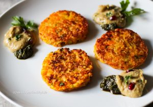 Pumpkin Potato Fritters served with Pumpkin Seed Pesto and Baba Ghanoush