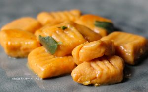 Sage Butter accompanies the Sweet Potato Gnocchi very well