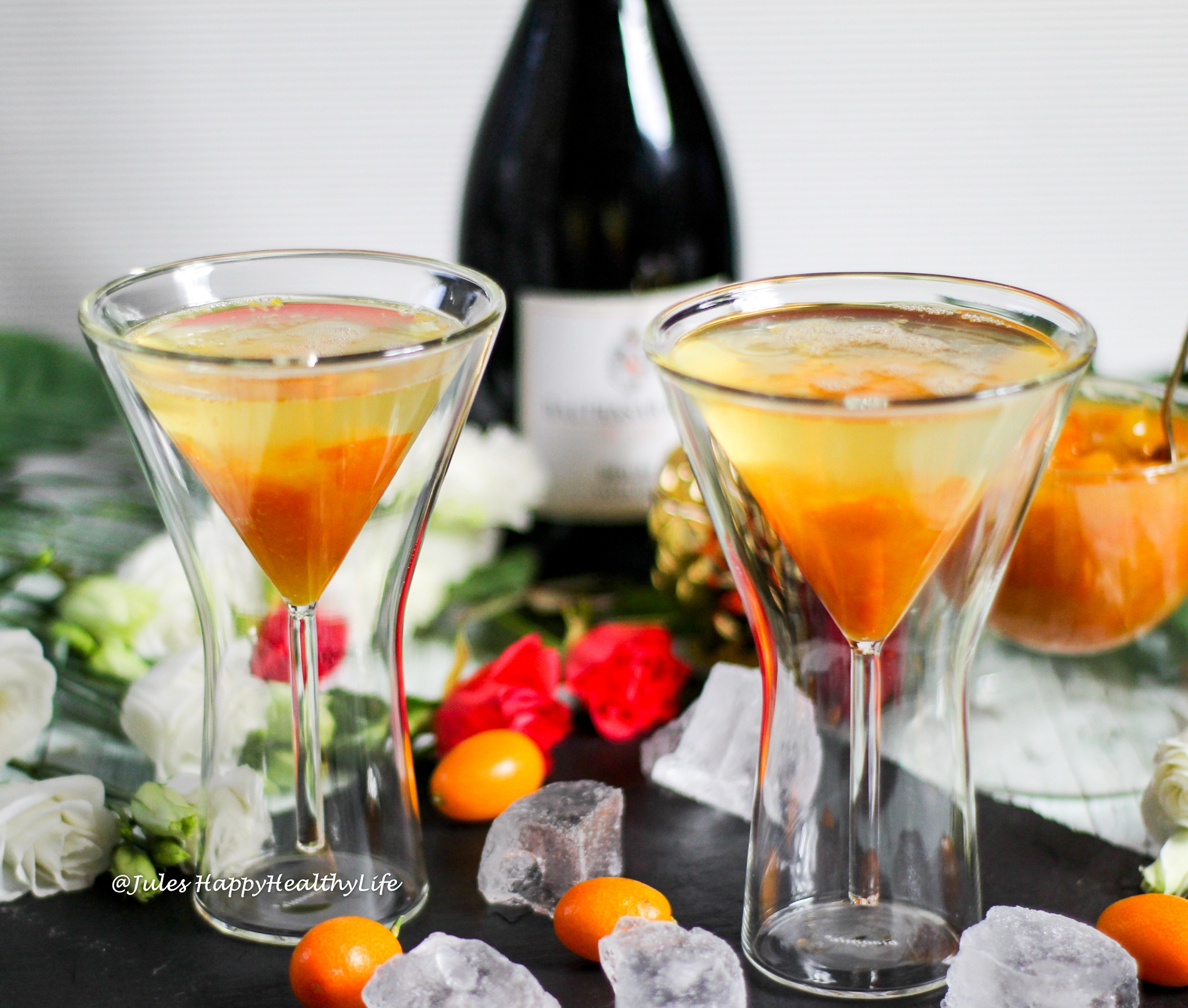 Delicious alcoholic aperitif for a romantic evening - Spiced Kumquats with Sparkling Wine