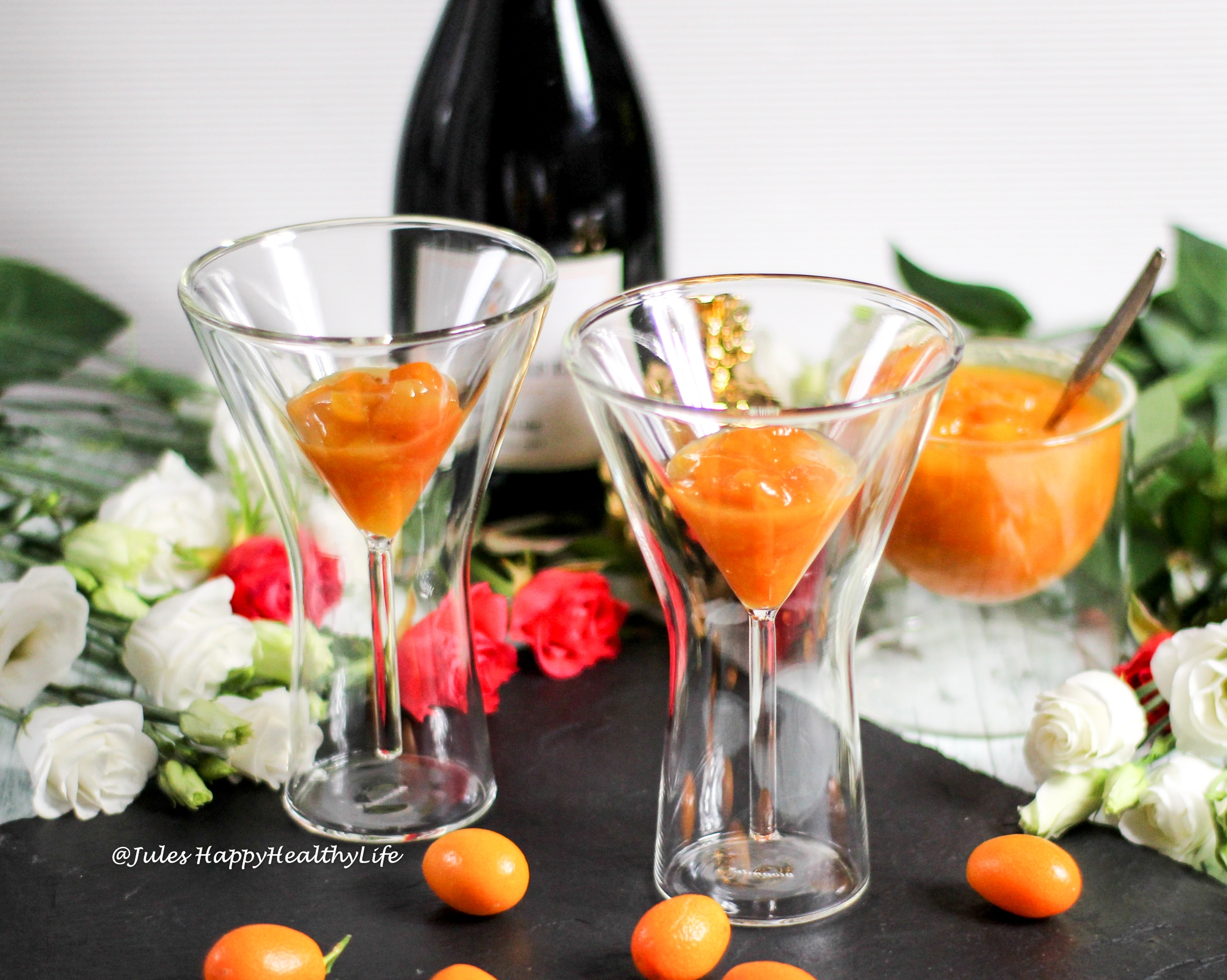 Sparkling Wine from a Winery with Spcied Kumquats