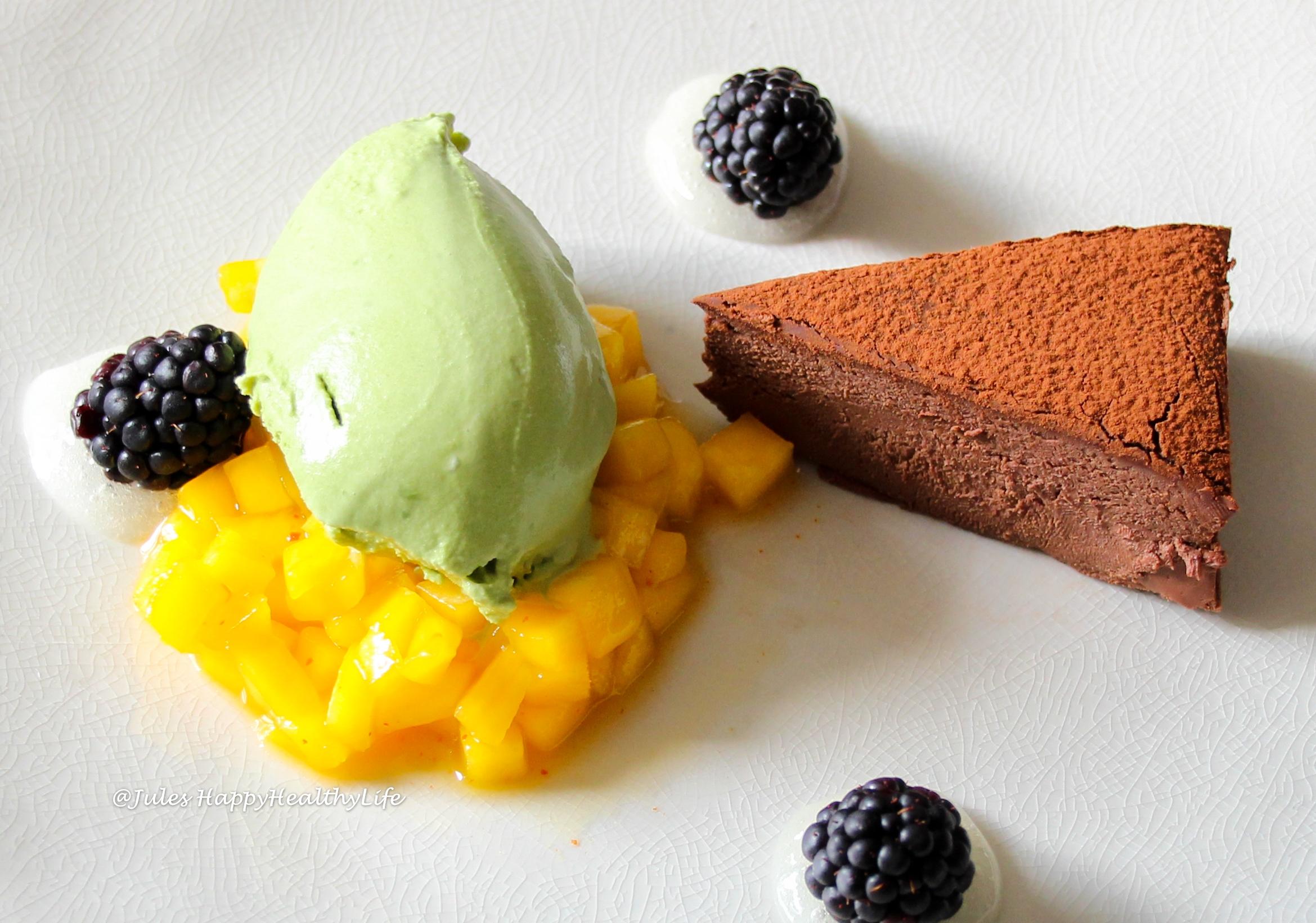 Yummy Matcha Ice Cream with Chocolate Ganache Tarte and Mango Chili Chutney and Lemon Gel