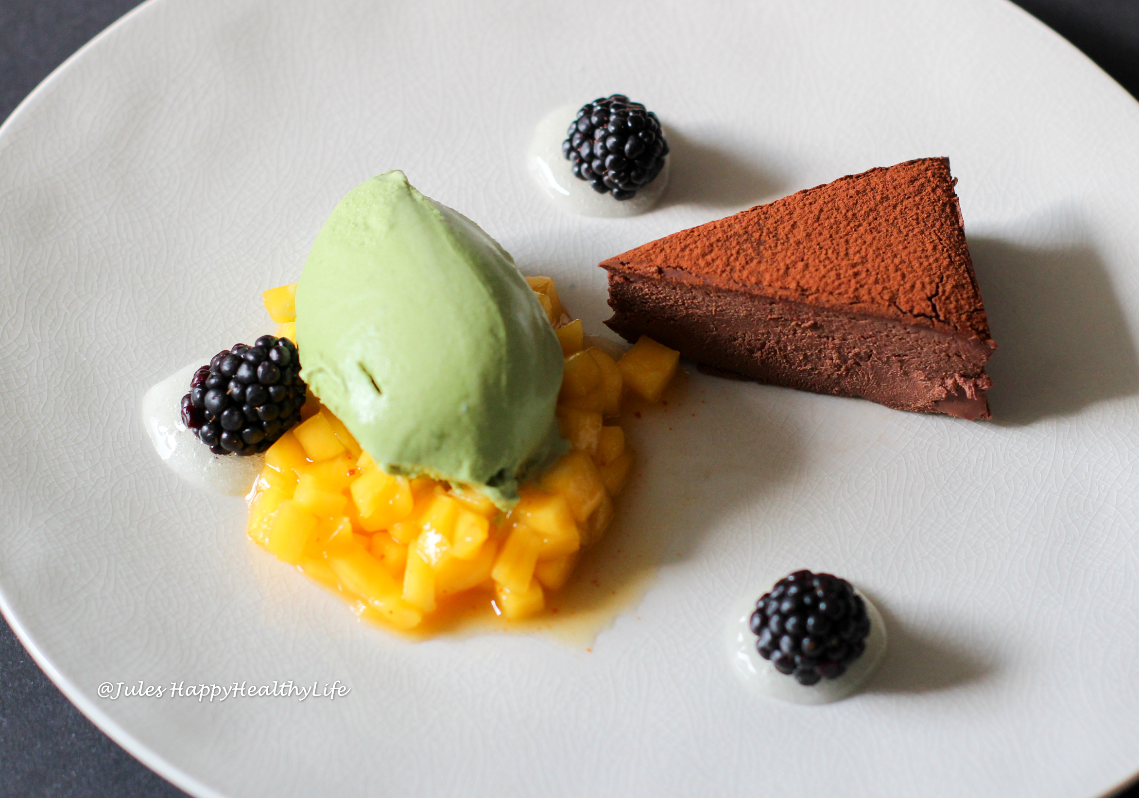 Impress guests with this Matcha Ice Cream with Chocolate Ganache Tarte and Mango Chili Chutney and Lemon Gel