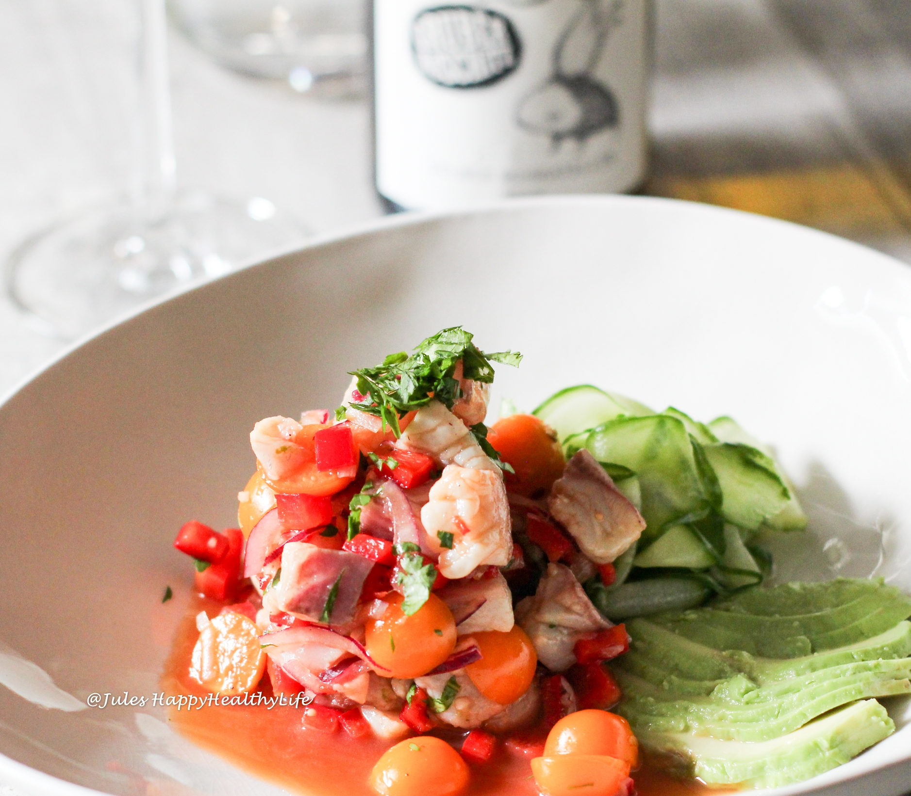 Ceviche of Gilthead and Physalis with Gelber Muskateller by Gruber Röschitz as wine accompaniment is a light summer dish