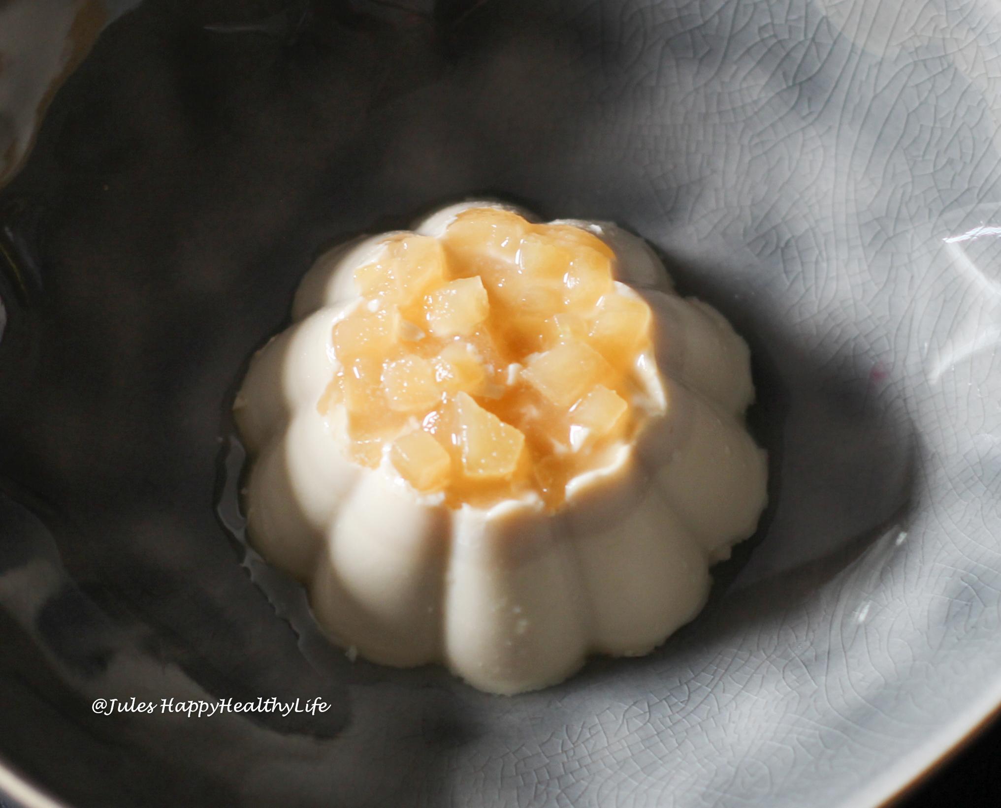 Spannendes Dessert mit Kamille - Kamille Panna Cotta mit Gewürztraminer Apfel