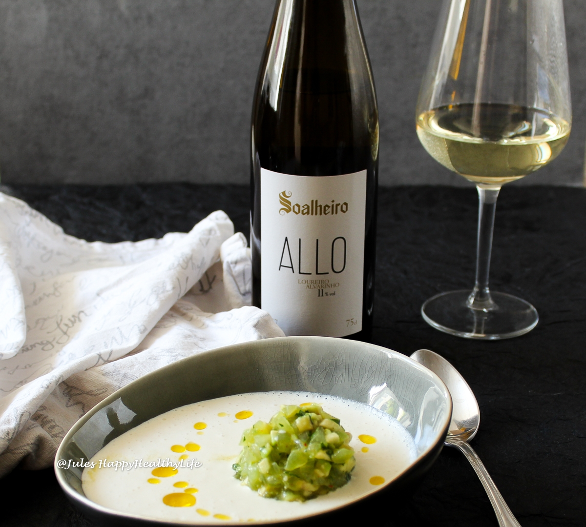 "Allo Quinta de Soalheiro is the perfect accompaniment to almond soup ""Ajo Blanco"""