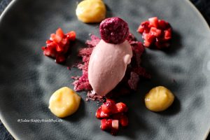 Rhubarb Riesling Ice Cream with Beetroot Meringue and Lemon Curd and Strawberry Compotte