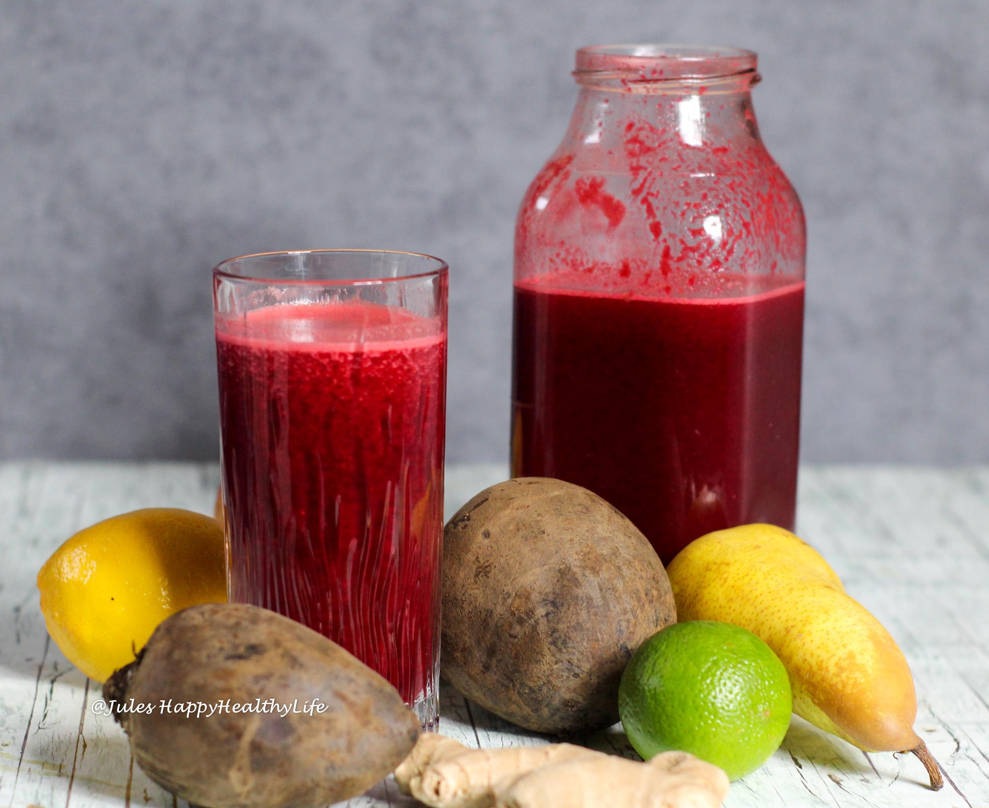 Rote Bete Ingwer Saft mit Birne und vielen Zitrusfrüchten