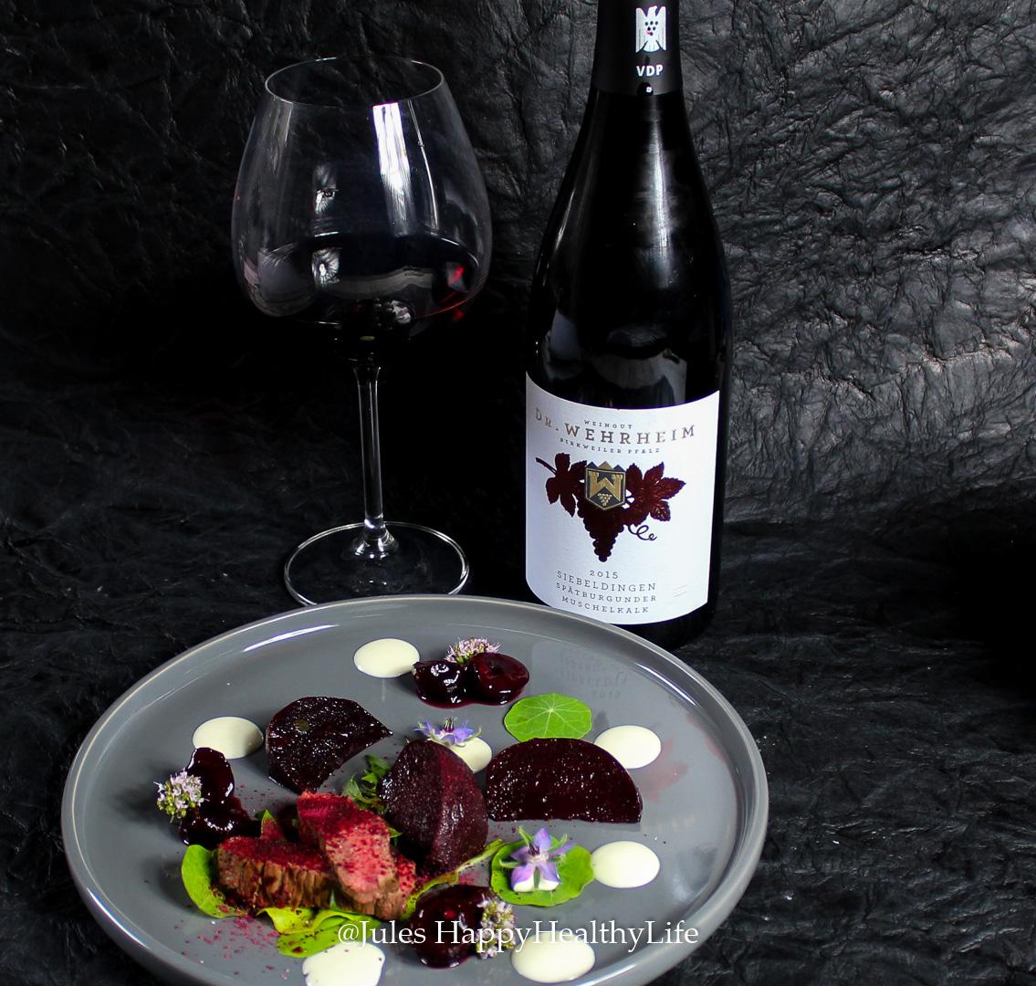Rezept für Marinierte Rote Bete und Rotwein Kirschen, leckere Feta Creme und dazu 2015er Spätburgunder von Dr. Wehrheim