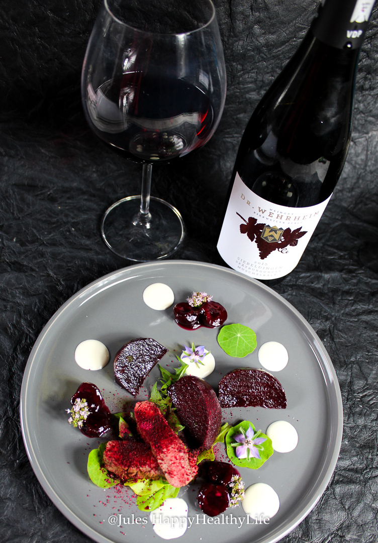 Marinated beetroot with red wine cherries and steak with feta cream