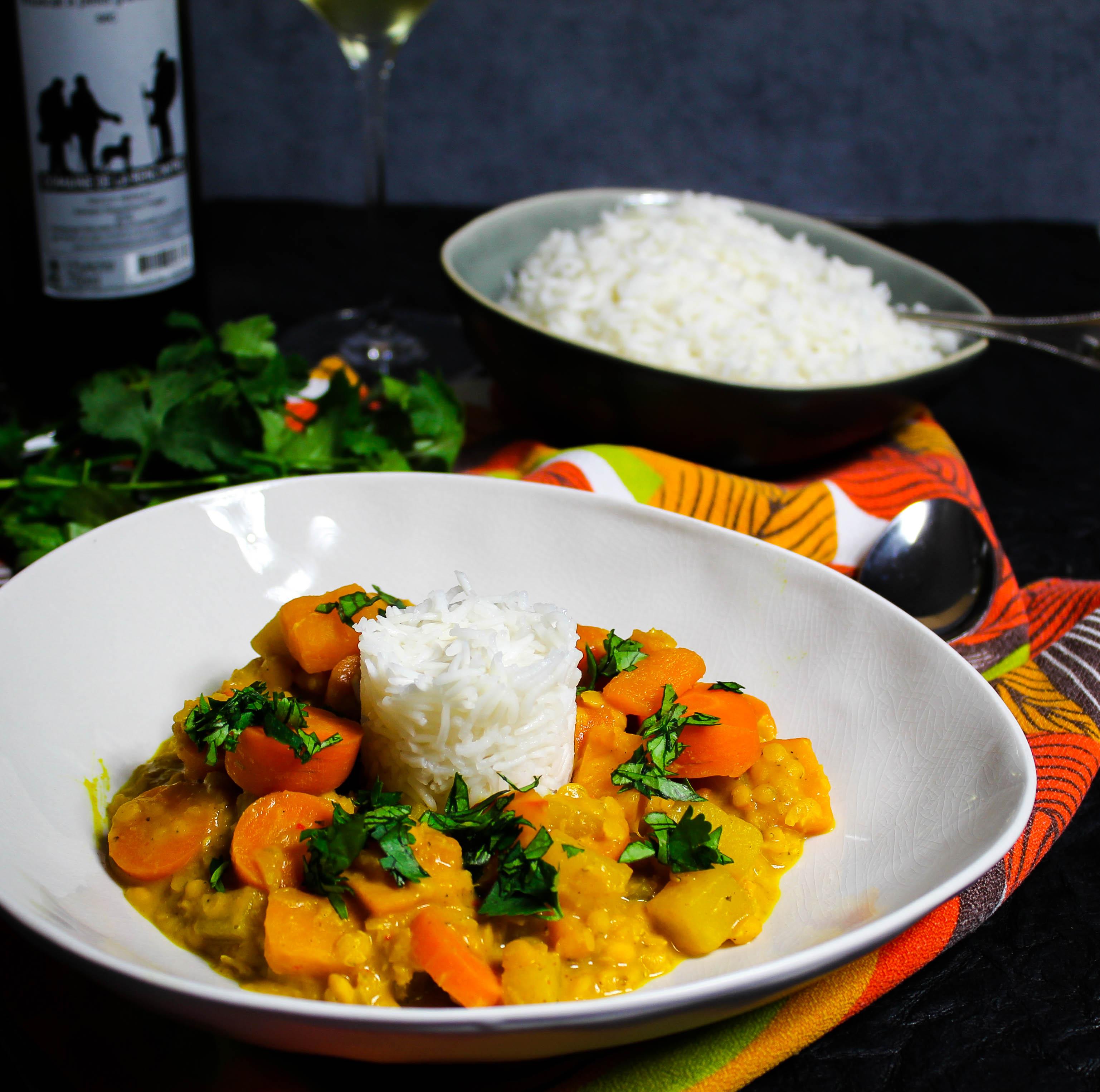 Rezept mit Kürbis - Gelbes Gemüsecurry