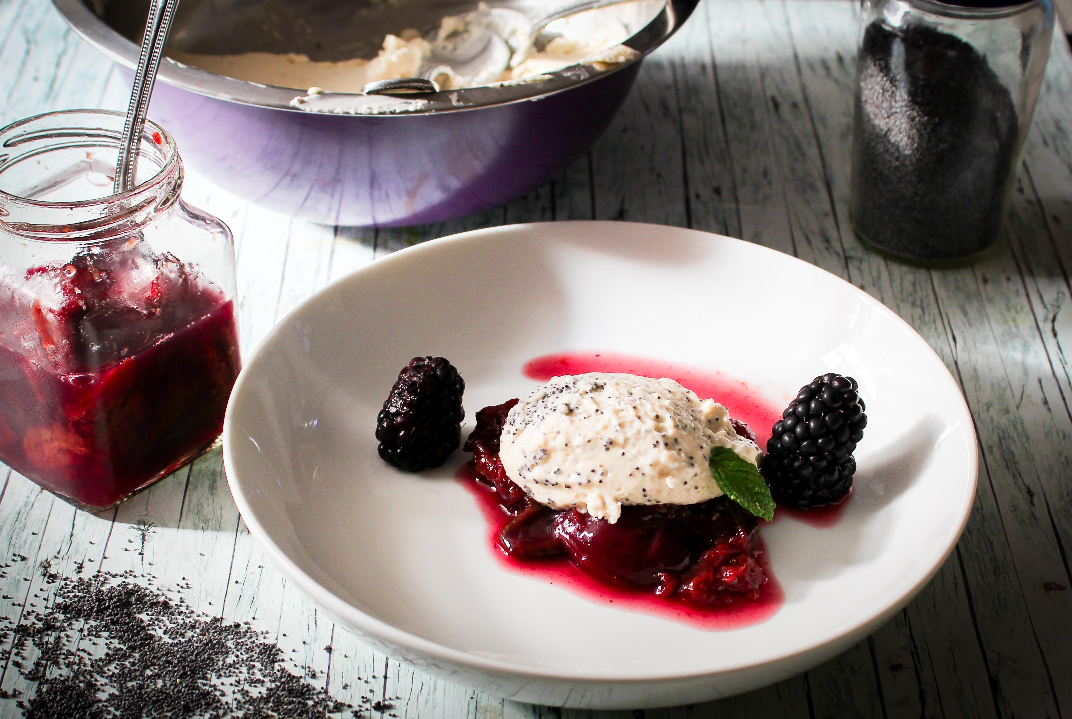 Dessert to prepare is white chocolate poppy seed mousse with red wine plums
