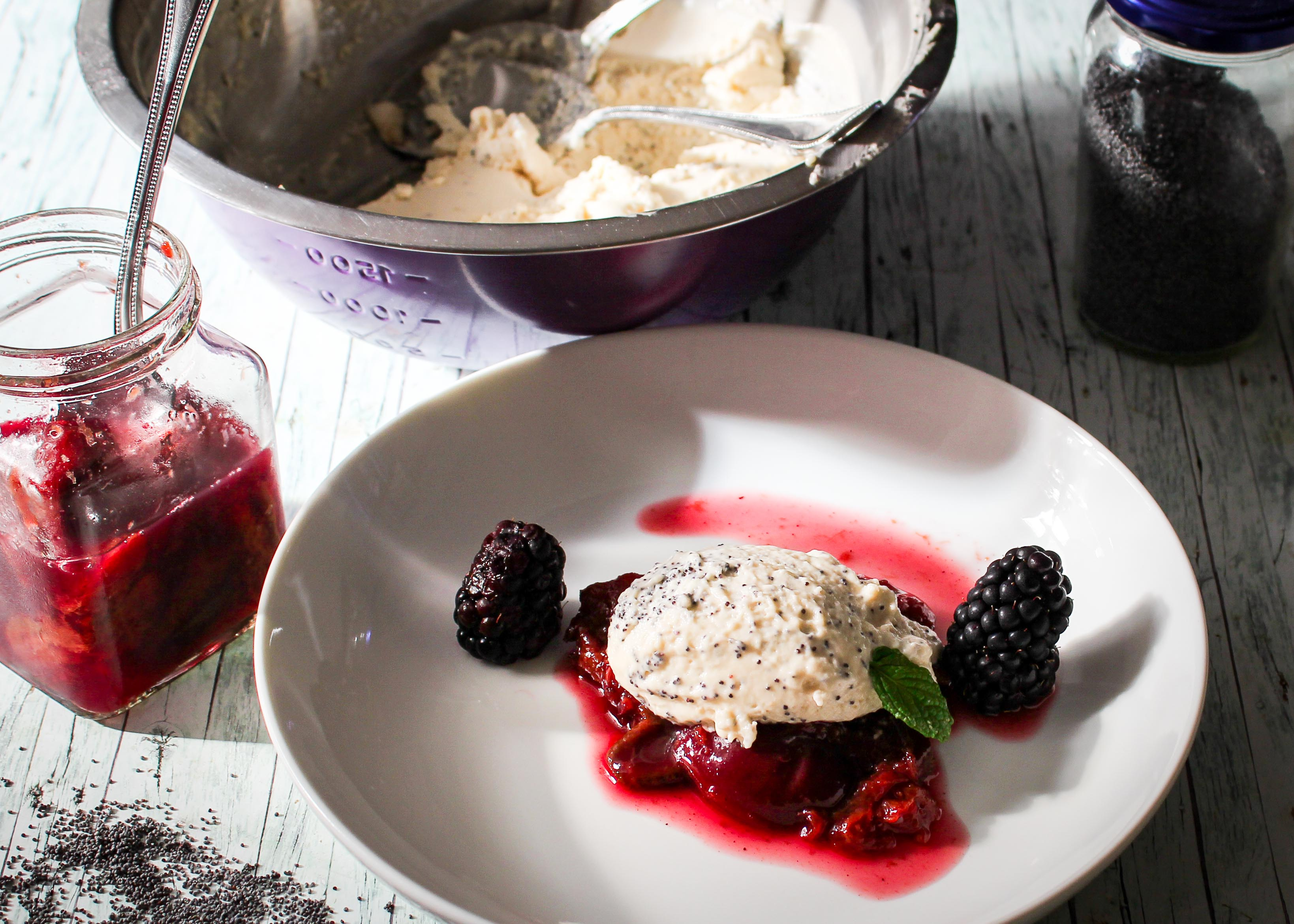 White Chocolate Poppy Seed Mousse with Red Wine Plums perfect for the Christmas menu