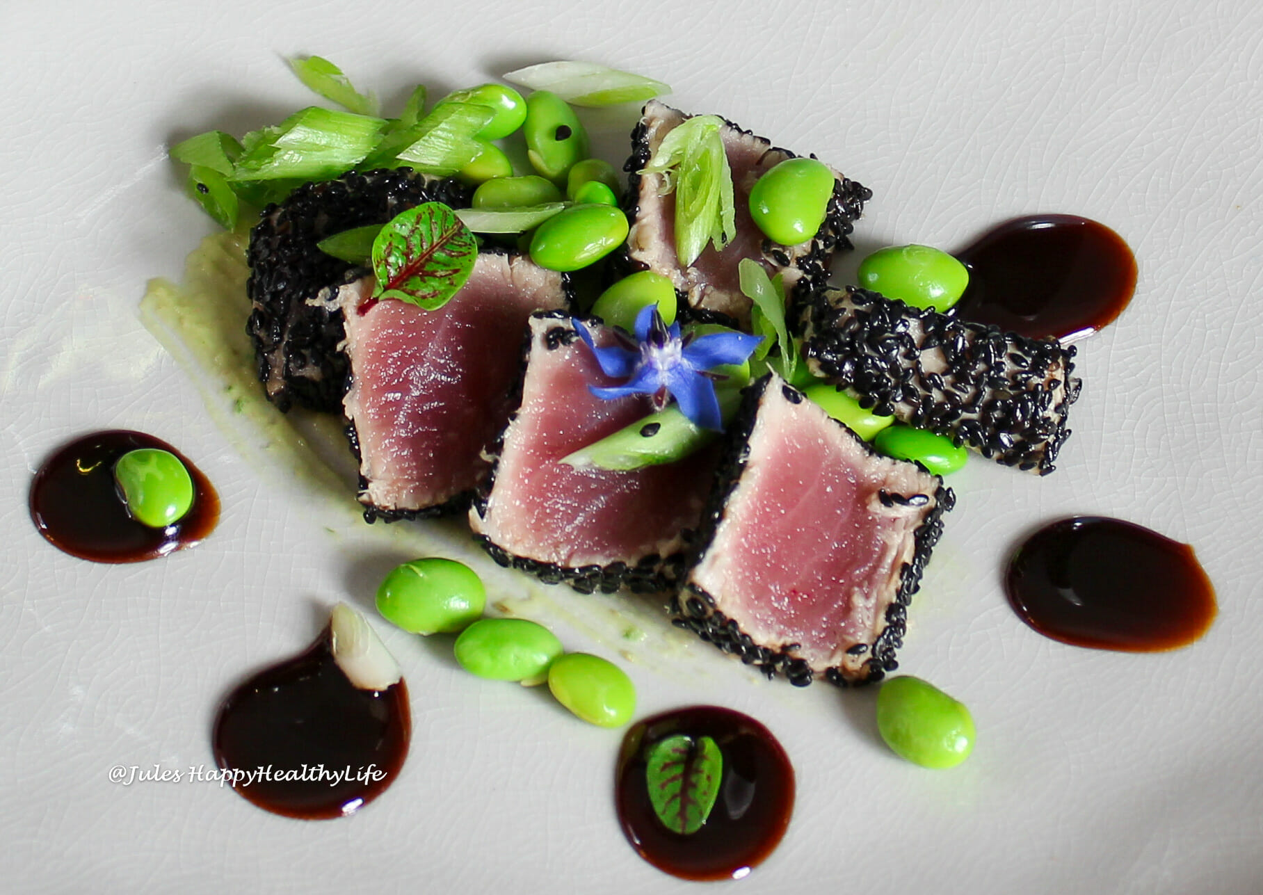 Easy recipe is Tuna Tataki with Ginger Soy Reduction