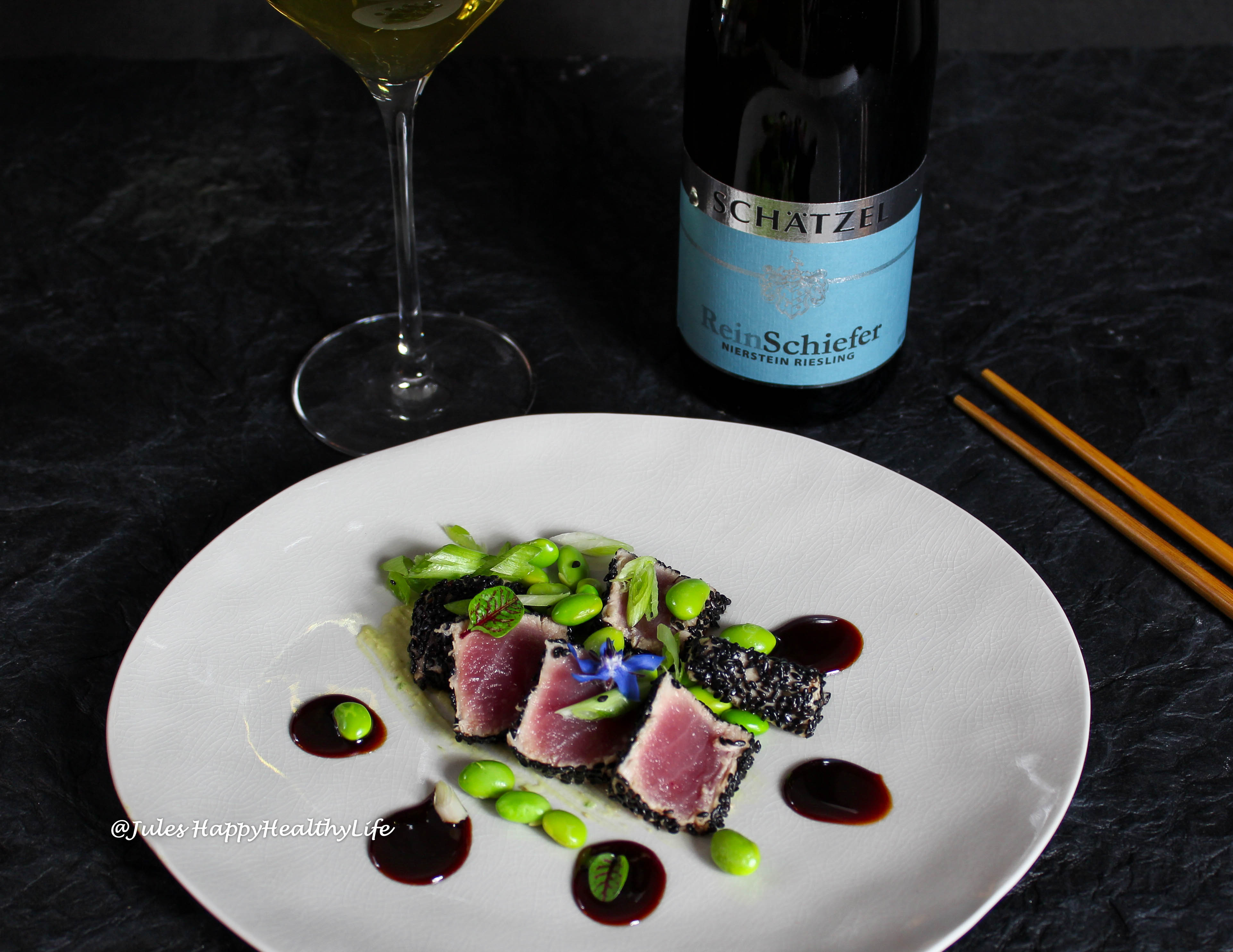 favorite recipes is Tuna Tataki with Ginger Soy Reduction