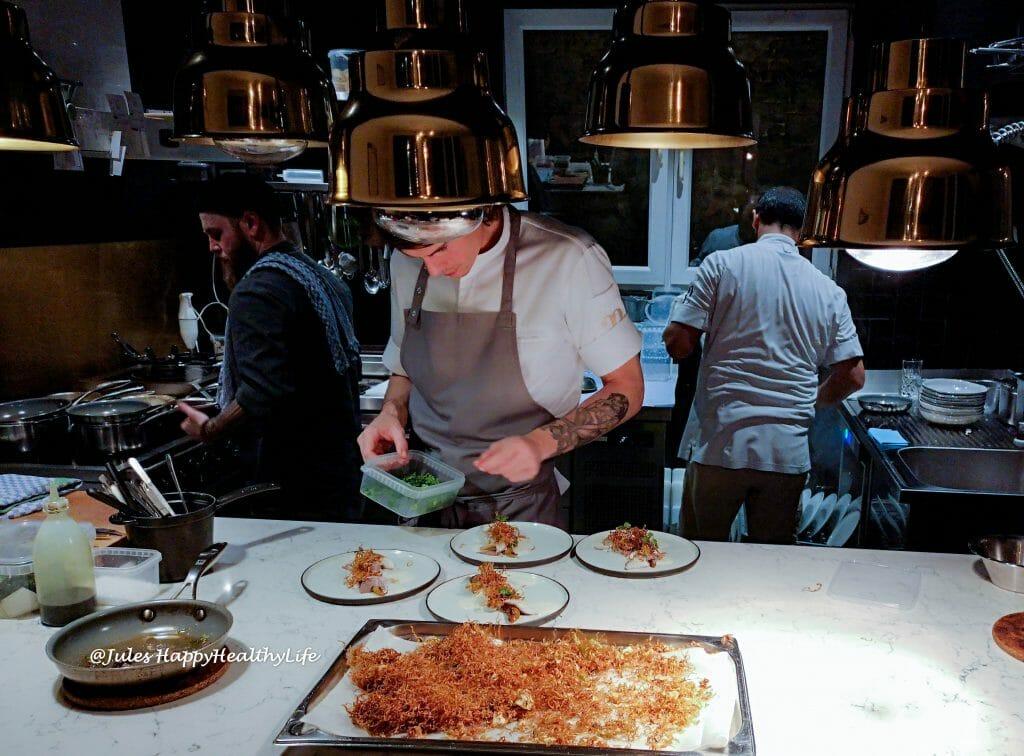 Offene Küche im haebel Restaurant auf St. Pauli