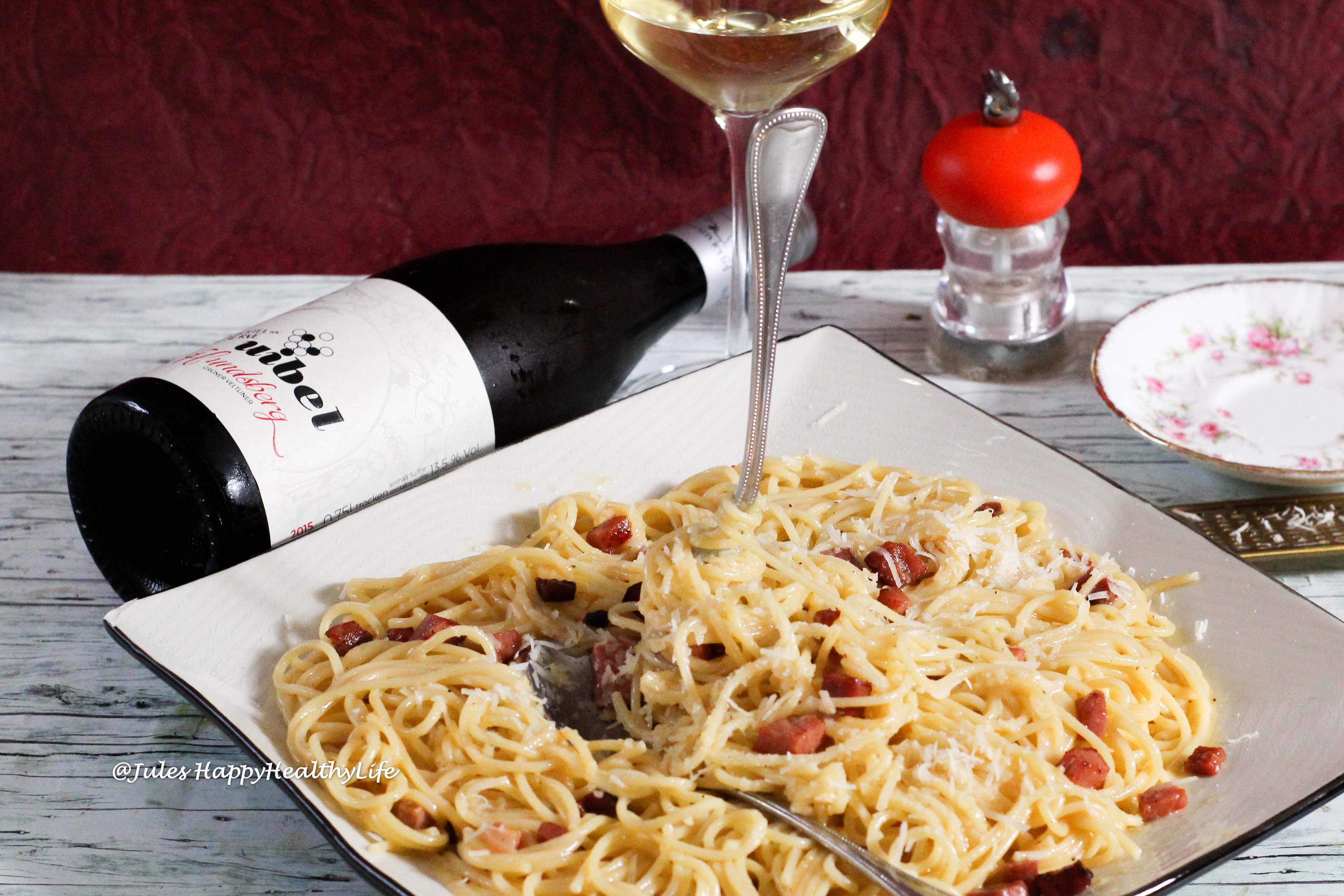 Spaghetti Carbonara dazu Hundsberg Grüner Veltliner 2015 vom Weinhau Uibel