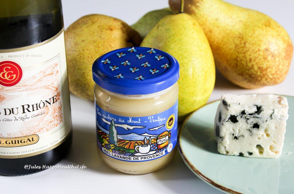 Zutaten für Birnen mit Roquefort gefüllt und Lavendelhonig Walnüssen