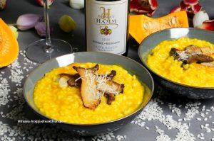 Rezept für Kürbis Risotto mit Kräuterseitlingen