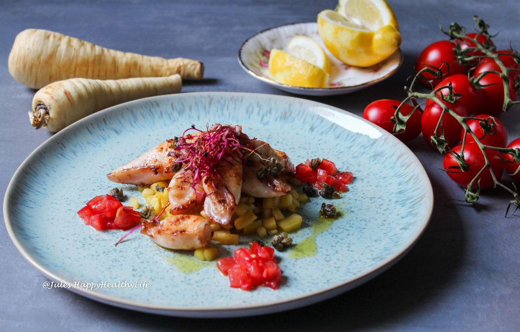 Rezepte der Prosecco Region - Calamaretti mit Pastinaken, Tomaten und Kapern