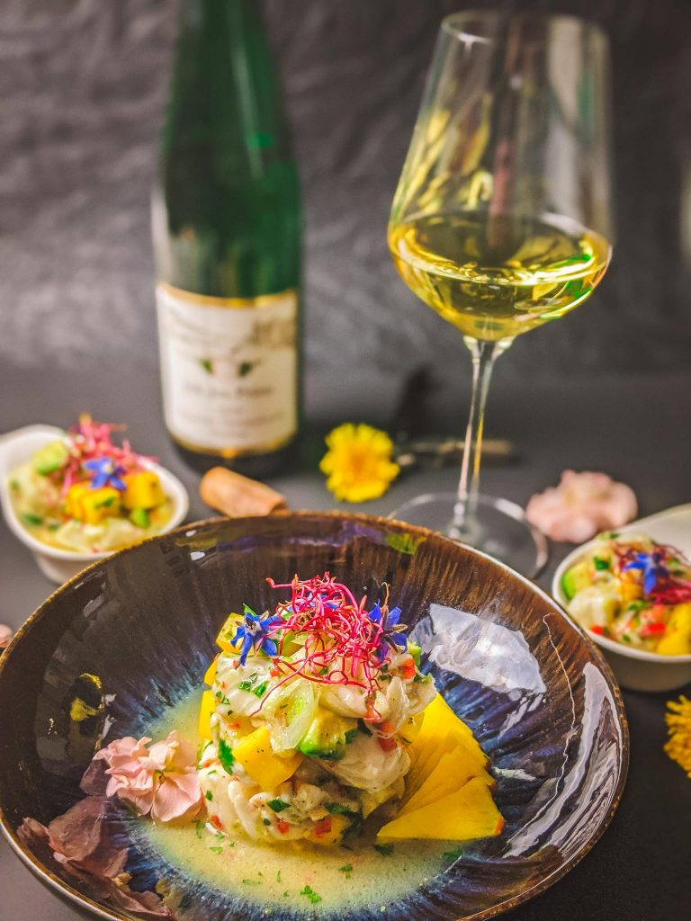 Ceviche with Mango and Kefir Lime Leaves