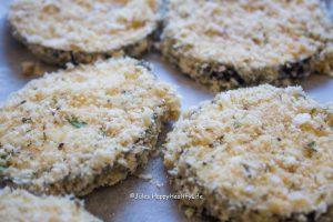 breaded eggplants with vegan parmesan cheese - Jules HappyHealthyLife